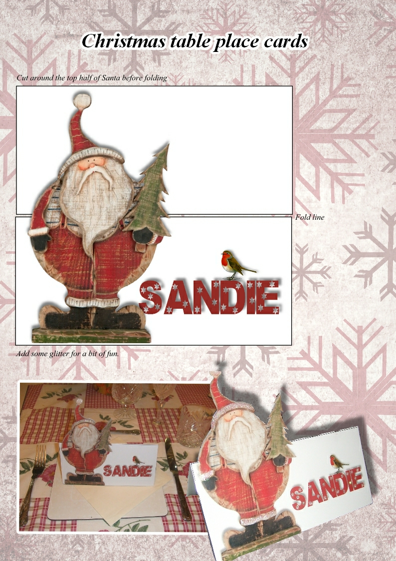 Crafty ideas christmas table place cards sandie s